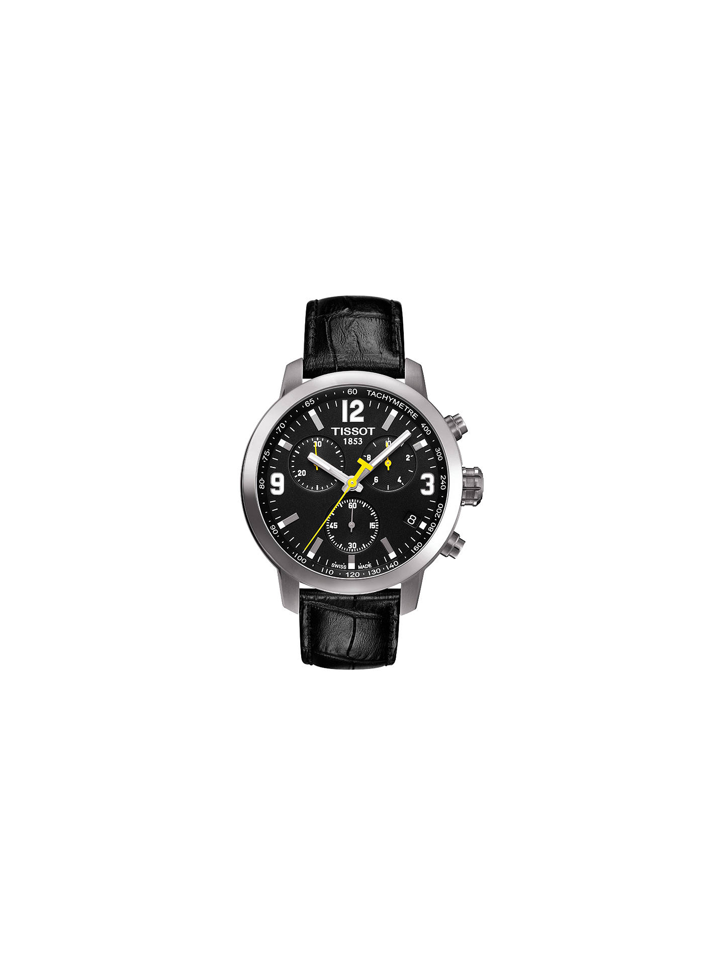 3877a9649 Buy Tissot T0554171605700 Men's PRC 200 Chronograph Date Leather Strap Watch,  Black Online at johnlewis ...
