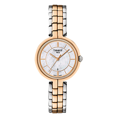 Tissot T0942102211100 Women's Flamingo Date Two Tone Bracelet Strap Watch, Rose Gold/Silver