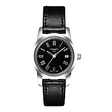 Buy Tissot T0332101605300 Women's Classic Dream Date Leather Strap Watch, Black Online at johnlewis.com