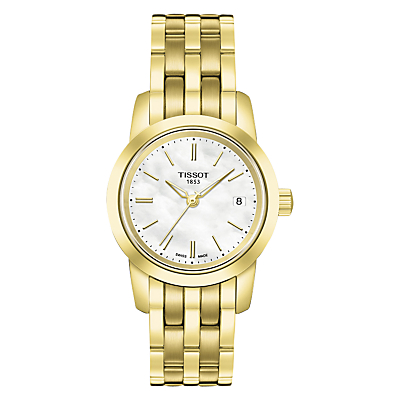 Tissot T0332103311100 Women's Classic Dream Date Bracelet Strap Watch, Gold/White