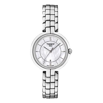 Tissot T0942101111100 Women's Flamingo Date Bracelet Strap Watch, Silver