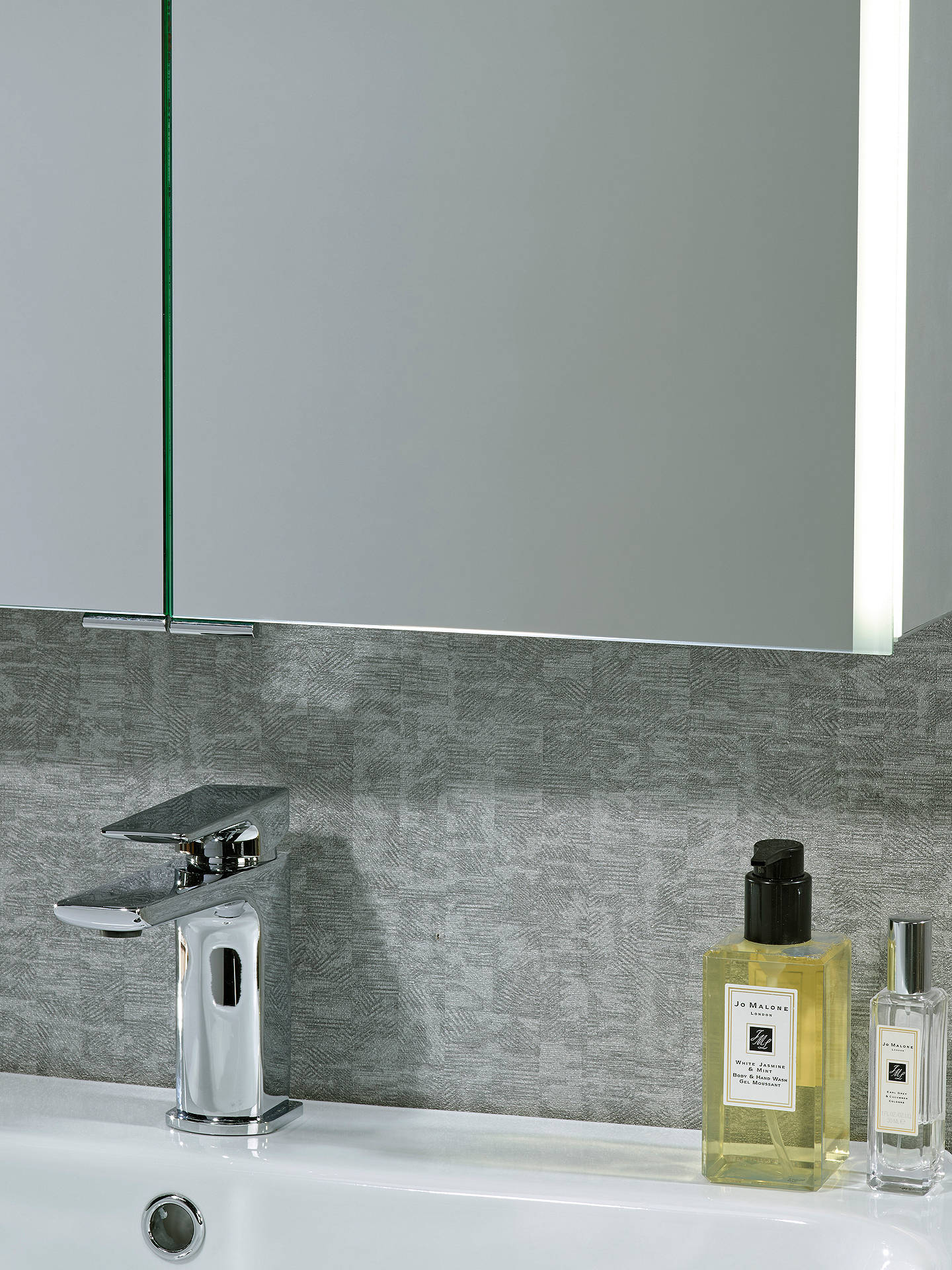 BuyJohn Lewis & Partners LED Trace Double Mirrored Illuminated Bathroom Cabinet Online at johnlewis.com