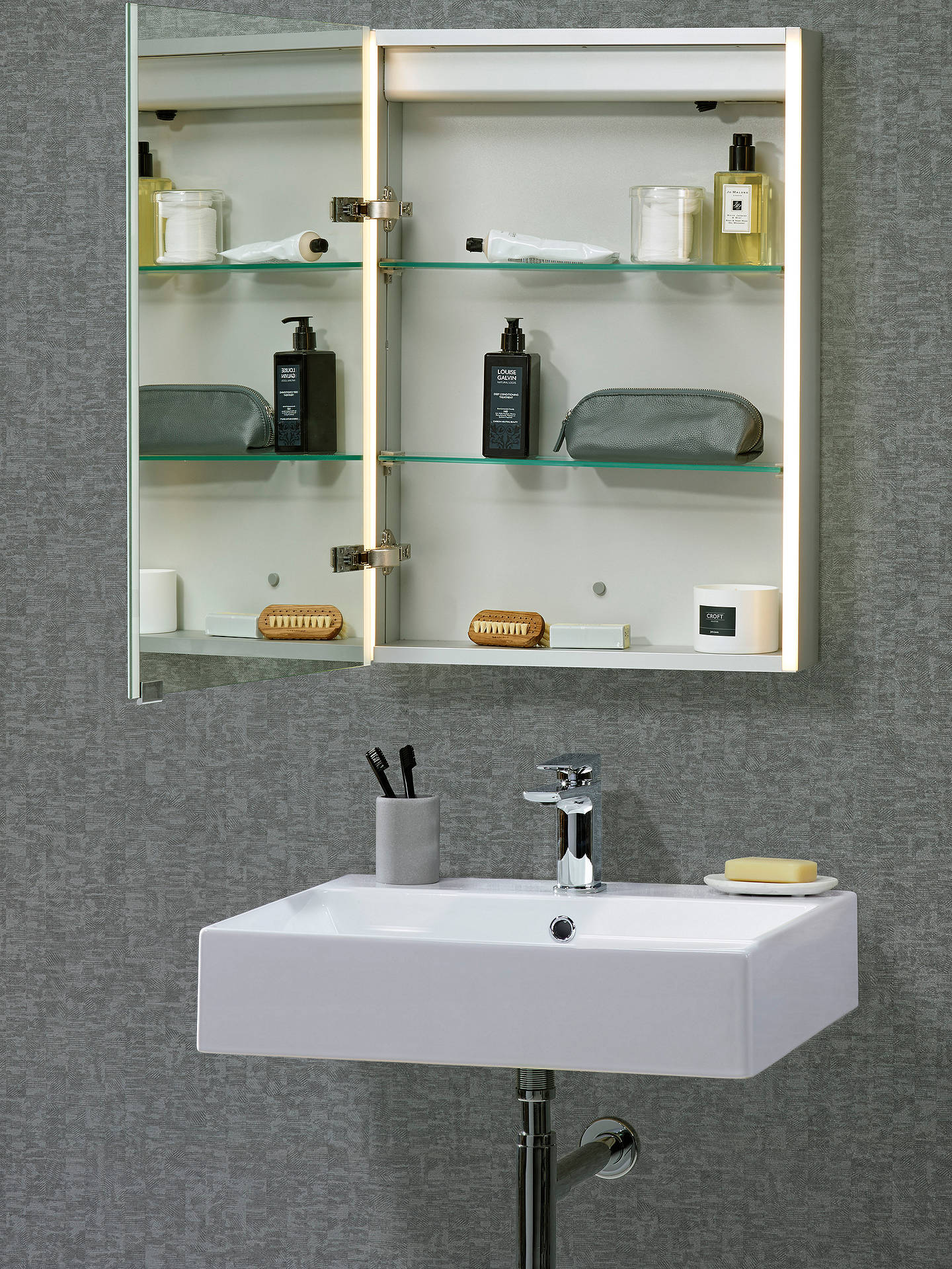 John Lewis Partners Trace Single Mirrored And Illuminated Bathroom Cabinet At John Lewis Partners