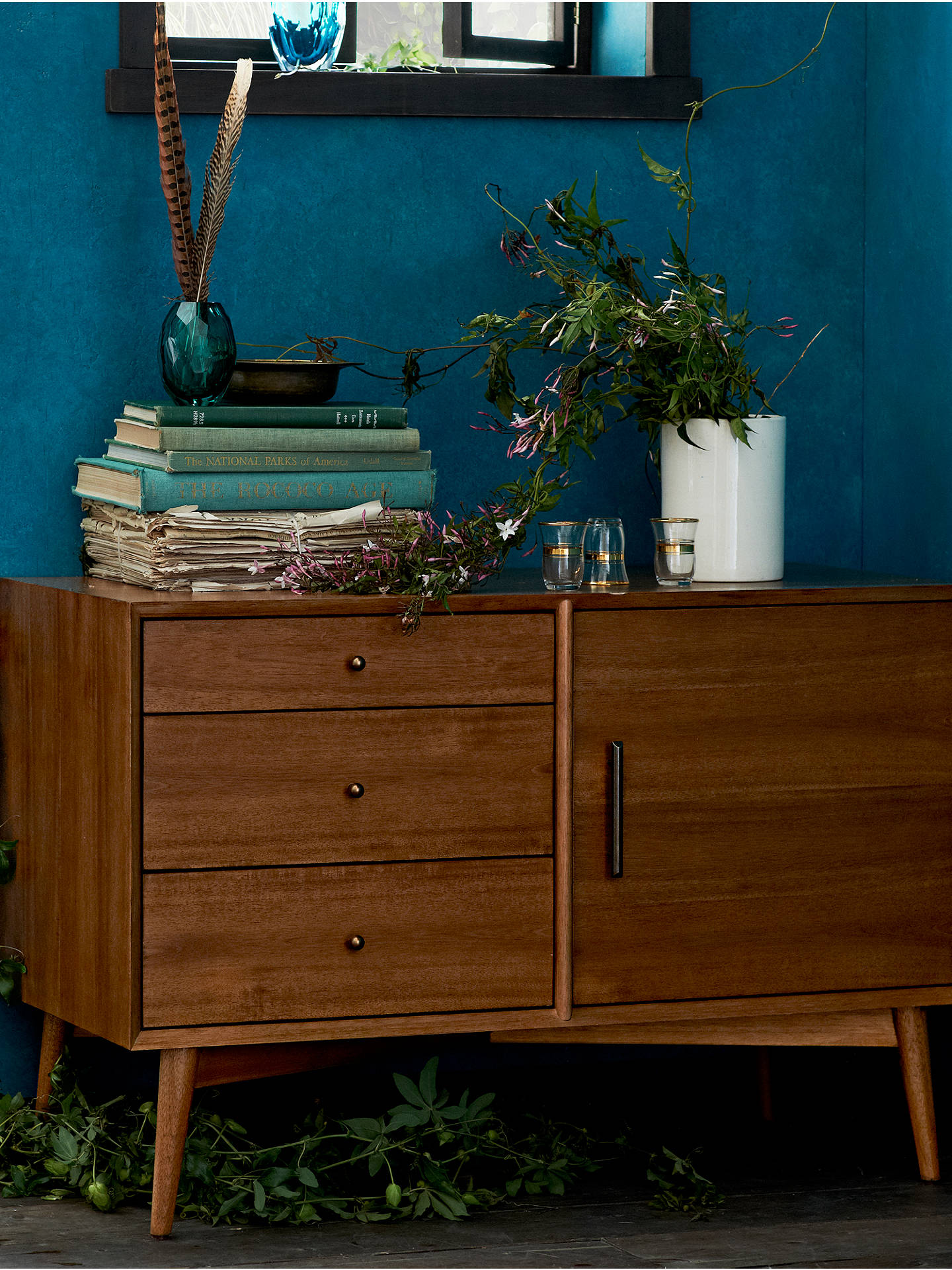 Buywest elm Mid-Century Small Sideboard, Acorn Online at johnlewis.com