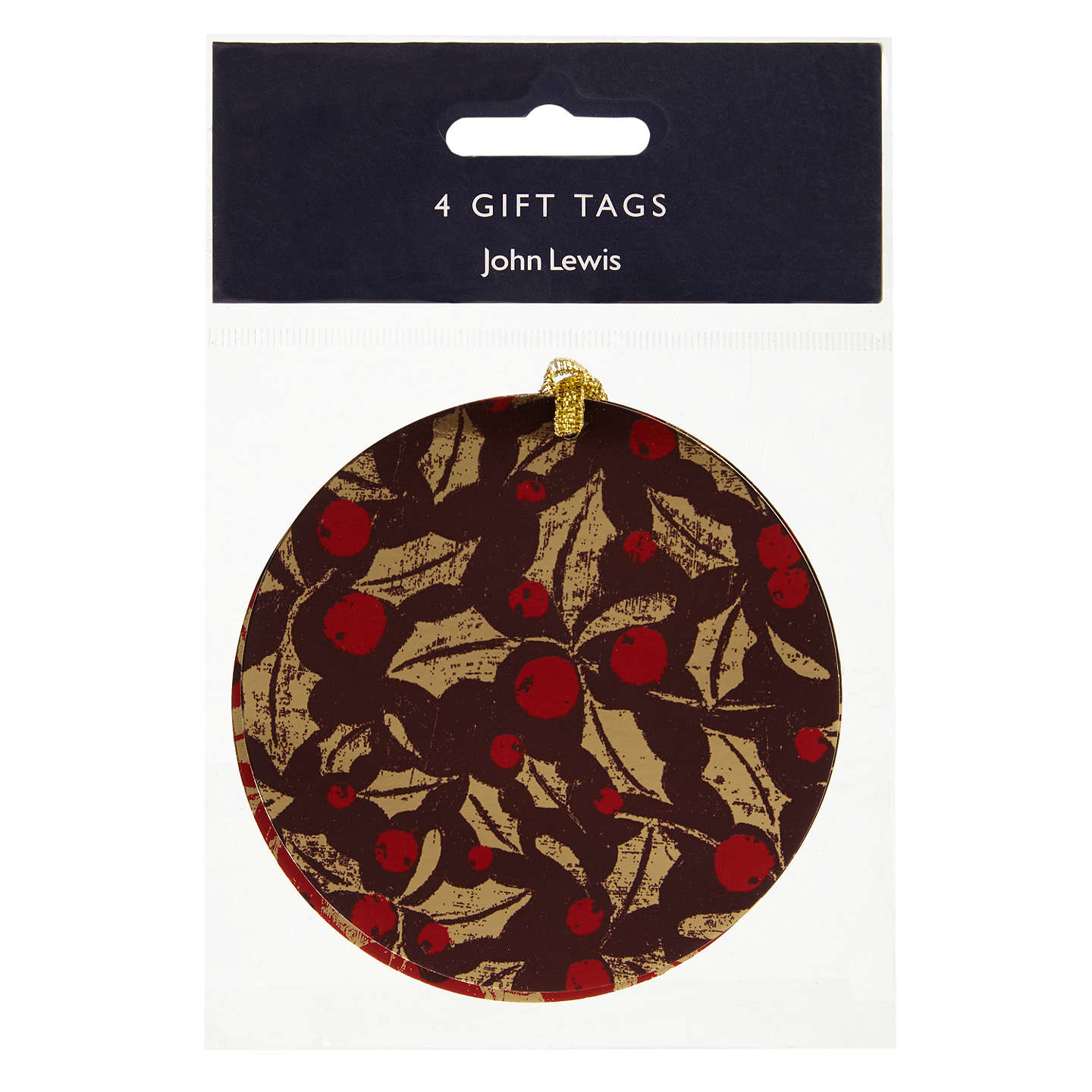 Buyjohn Lewis Ruskin House Holly Gift Tags, Pack Of 4
