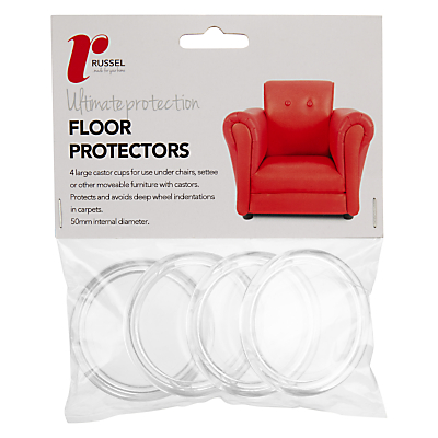 Russel Acrylic Floor Protector Cups, Pack of 4, 50mm