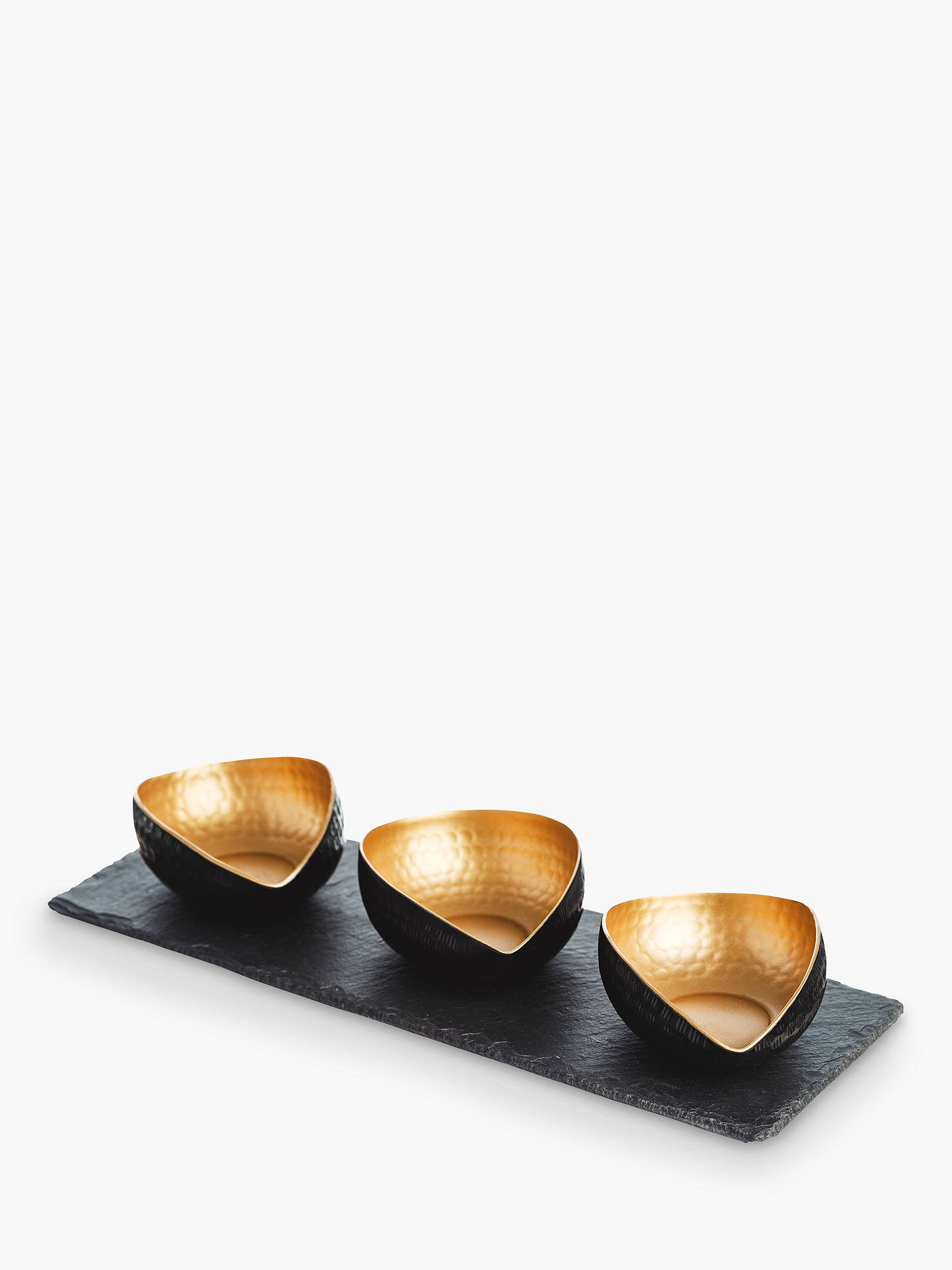 Buy The Just Slate Company Deluxe Mezze Set, Black/Gold Online at johnlewis.com