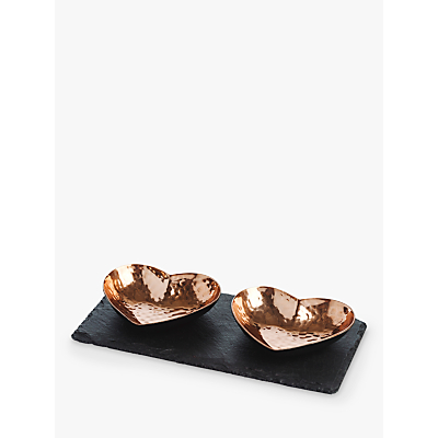 Just Slate Copper Heart Dipping Bowls, Set of 2