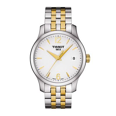 Tissot T0632102203700 Women's Tradition Date Two Tone Bracelet Strap Watch, Silver/Gold