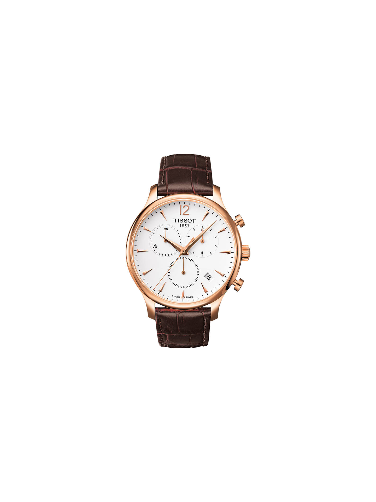 26b47b412 Buy Tissot T0636173603700 Men's Tradition Chronograph Date Leather Strap  Watch, Brown/White Online at ...