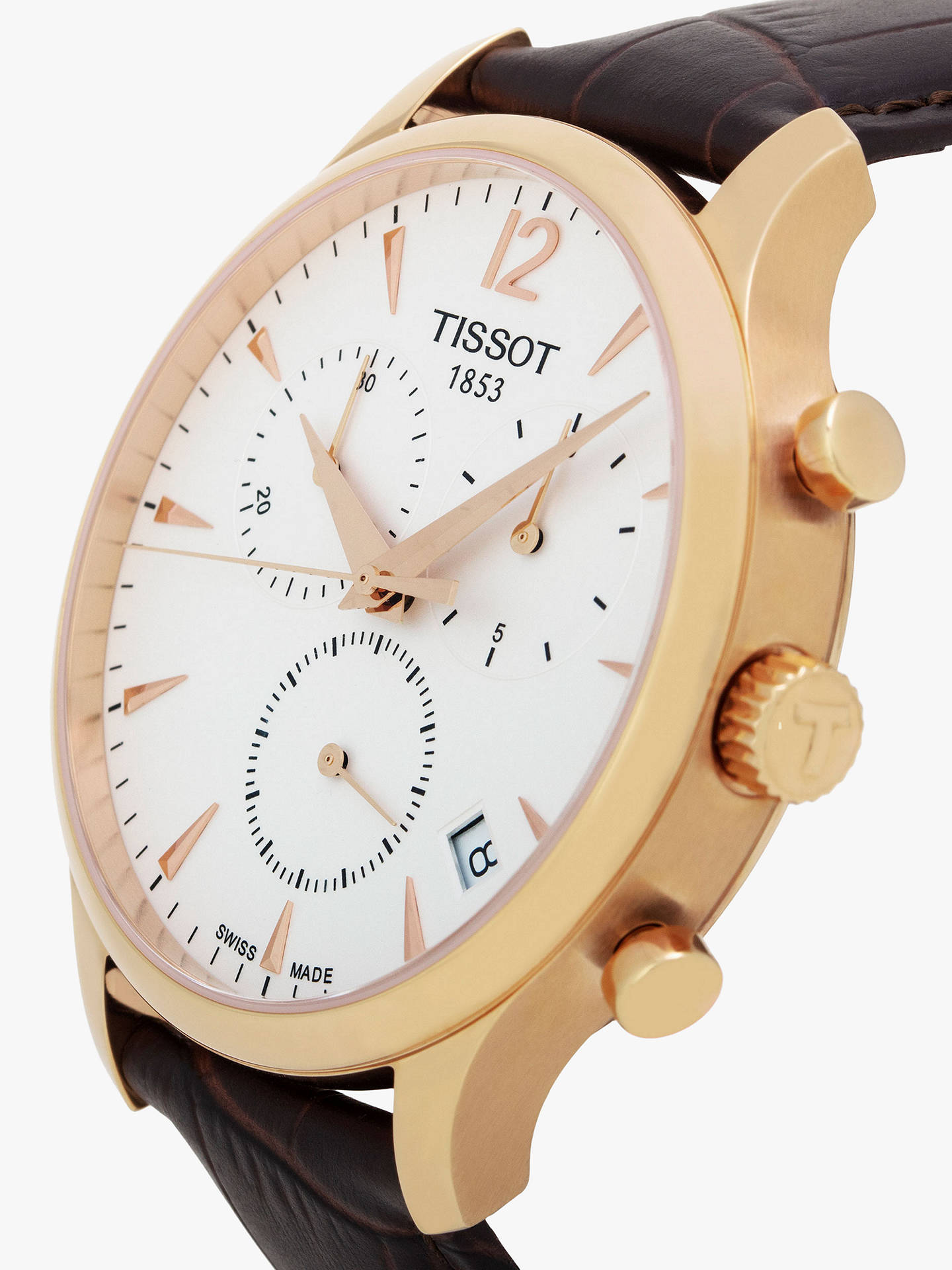 93bcca9db ... Buy Tissot T0636173603700 Men's Tradition Chronograph Date Leather  Strap Watch, Brown/White Online at ...