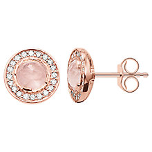 Buy Thomas Sabo Light of Luna Round Stud Earrings, Rose Gold/Rose Quartz Online at johnlewis.com