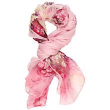 Buy Chesca Silk Flower Print Scarf, Pink Online at johnlewis.com