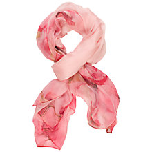 Buy Chesca Silk Flower Print Scarf, Light Pink Online at johnlewis.com