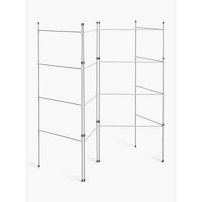 Product photo of John lewis 4 fold zig zag clothes airer grey