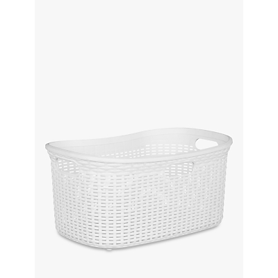 John Lewis & Partners Rattan Effect Storage Basket, Grey, 40L