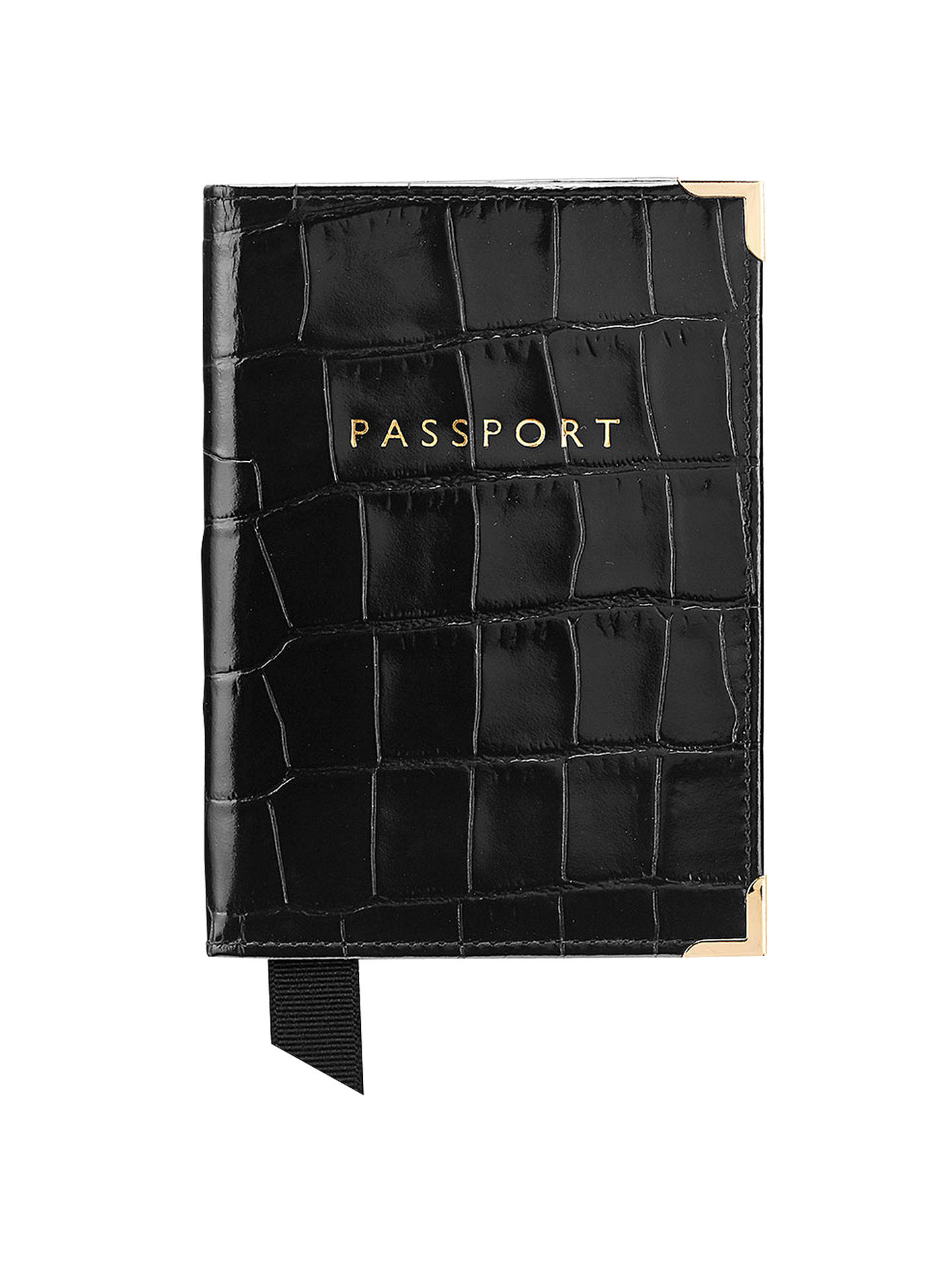 BuyAspinal of London Leather Passport Cover, Black Croc Online at johnlewis.com