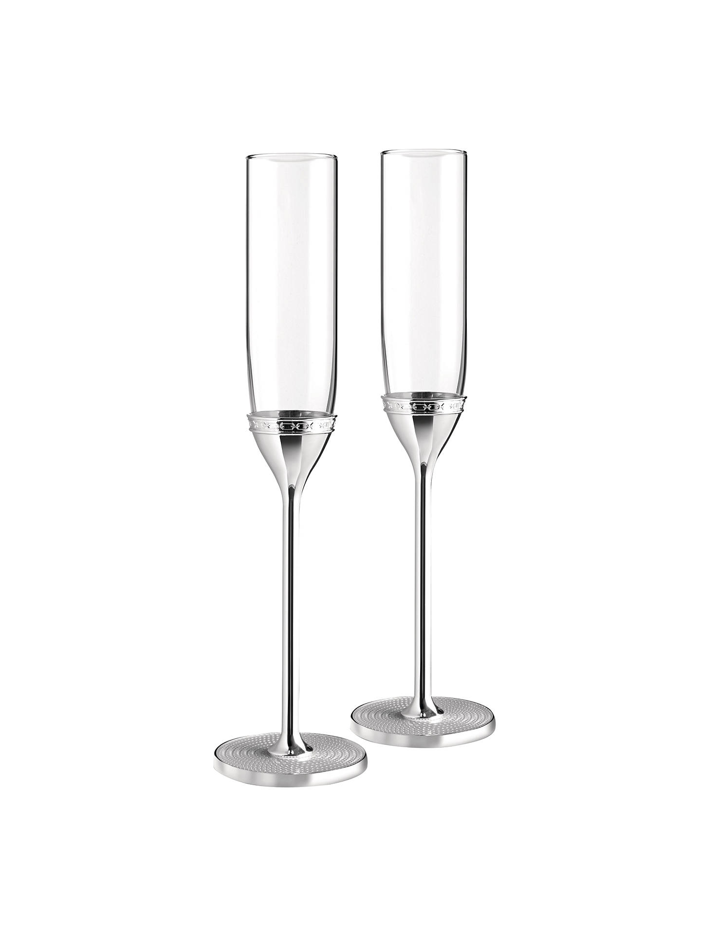 Buy Vera Wang for Wedgwood 'With Love' Silver Plated Flutes, Set of 2, Clear Online at johnlewis.com