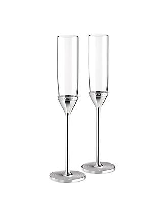 Vera Wang for Wedgwood 'With Love' Silver Plated Flutes, Set of 2
