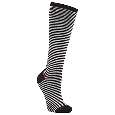 John Lewis Viscose Blend Wide Stripe Knee High Socks, Black/White