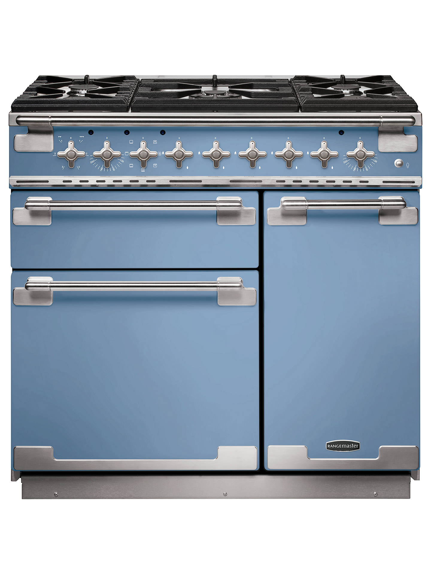Buy Rangemaster Elise 90 Dual Fuel Range Cooker, China Blue/Chrome Trim Online at johnlewis.com