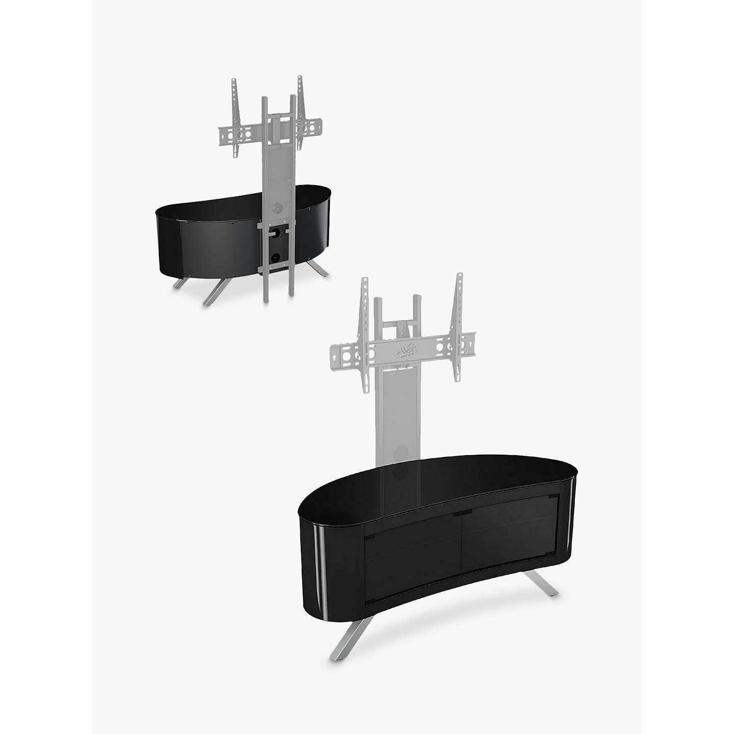 "BuyAVF Affinity Premium 1150 Bay Curved TV Stand For TVs Up To 55"", Black Online at johnlewis.com"