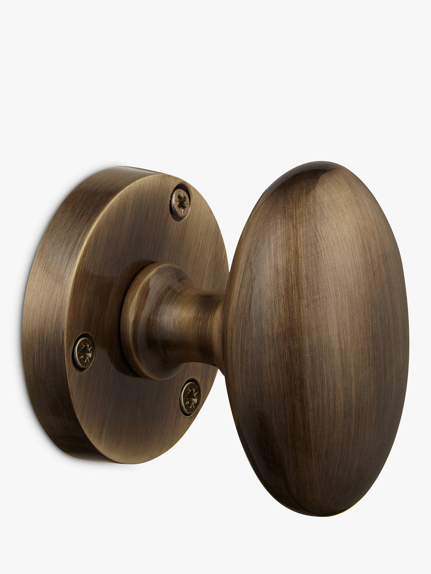 Buy John Lewis & Partners Oval Mortice Knob, Set of 2, Dia.56mm, Antique Brass Online at johnlewis.com