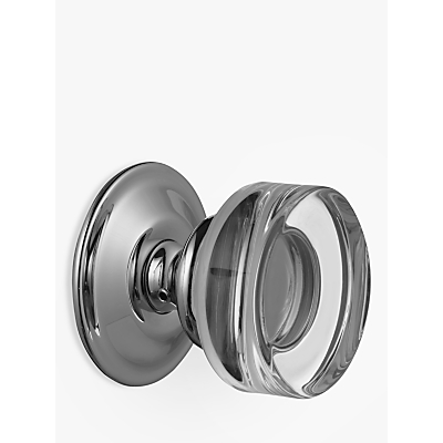 Image of John Lewis Curve Glass Mortice Knob, Pair, Dia.62mm