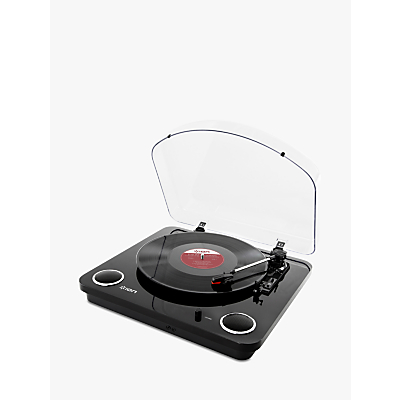 ION Max LP Three-Speed USB Turntable With Built-In Stereo Speakers, Piano Black