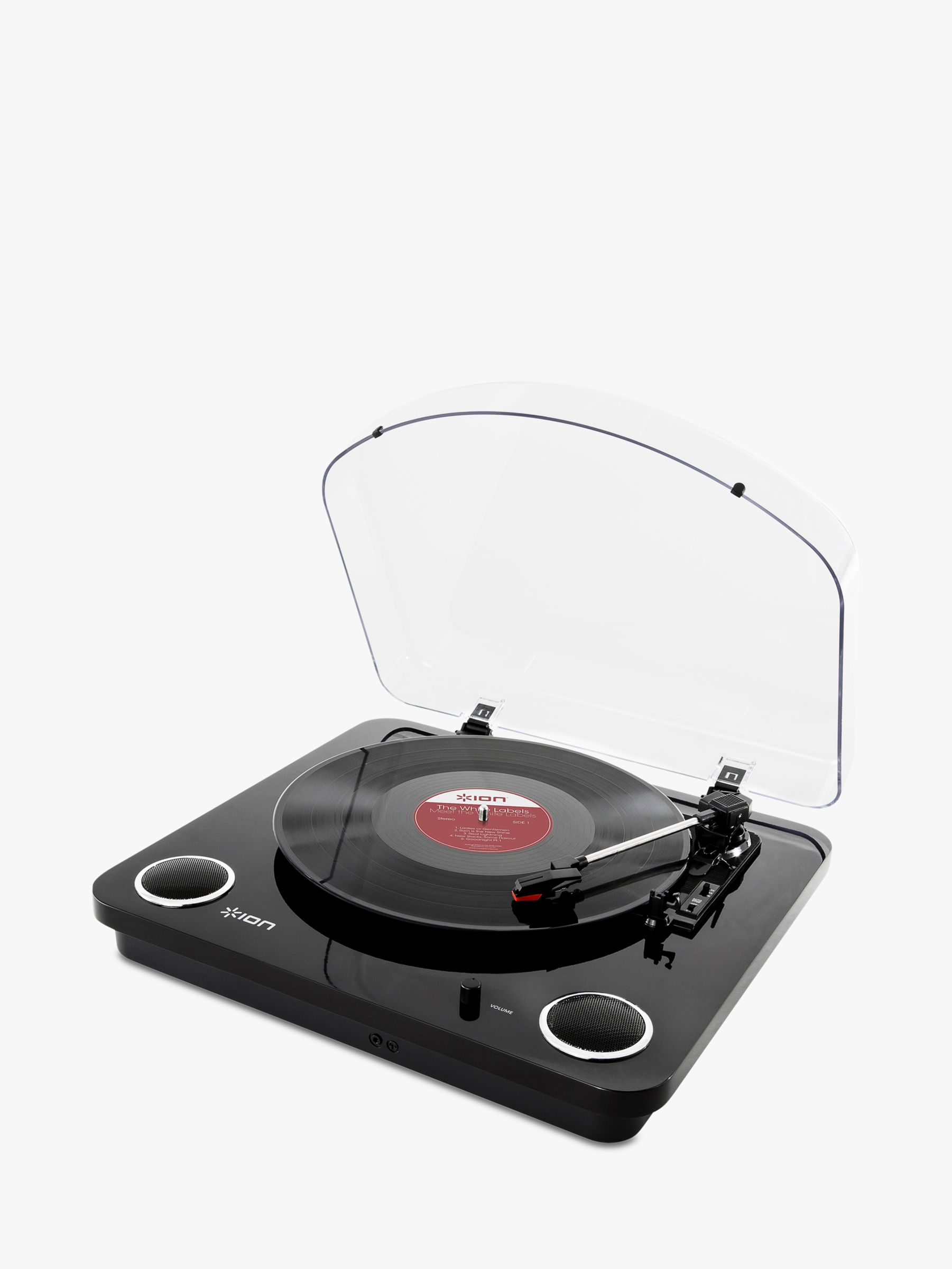 Ion ION Max LP Three-Speed USB Turntable With Built-In Stereo Speakers, Piano Black