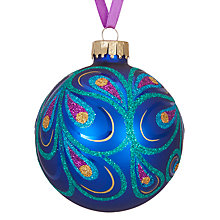 Buy John Lewis Shangri-La Peacock Swirl Bauble, Blue Online at johnlewis.com