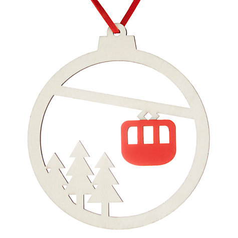 John Lewis Chamonix Cable Car Wooden Bauble