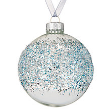 Buy John Lewis Snowshill Glitter Band Bauble, Blue / Silver Online at johnlewis.com