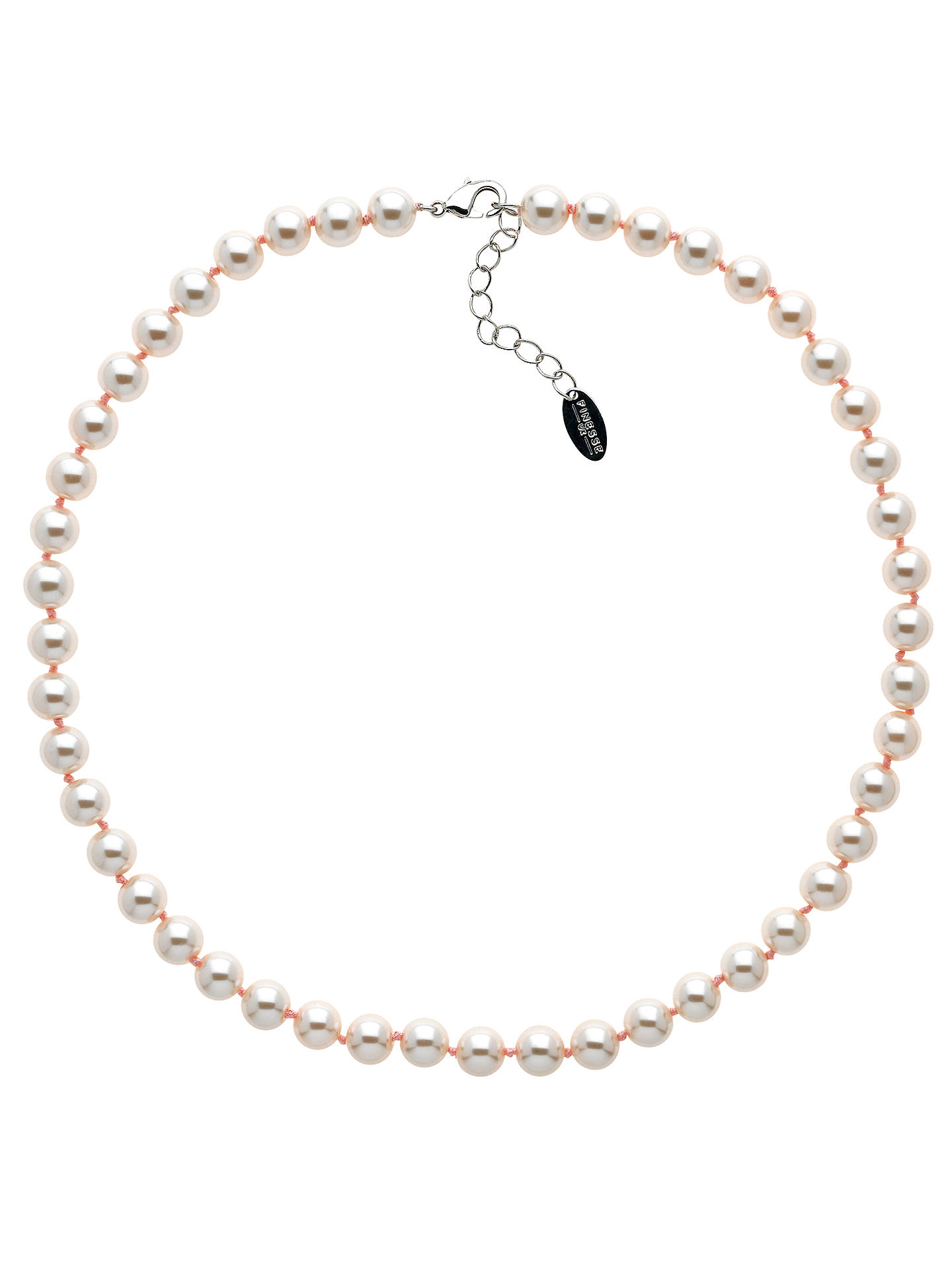 BuyFinesse Glass Faux Pearl Necklace, Blush Online at johnlewis.com