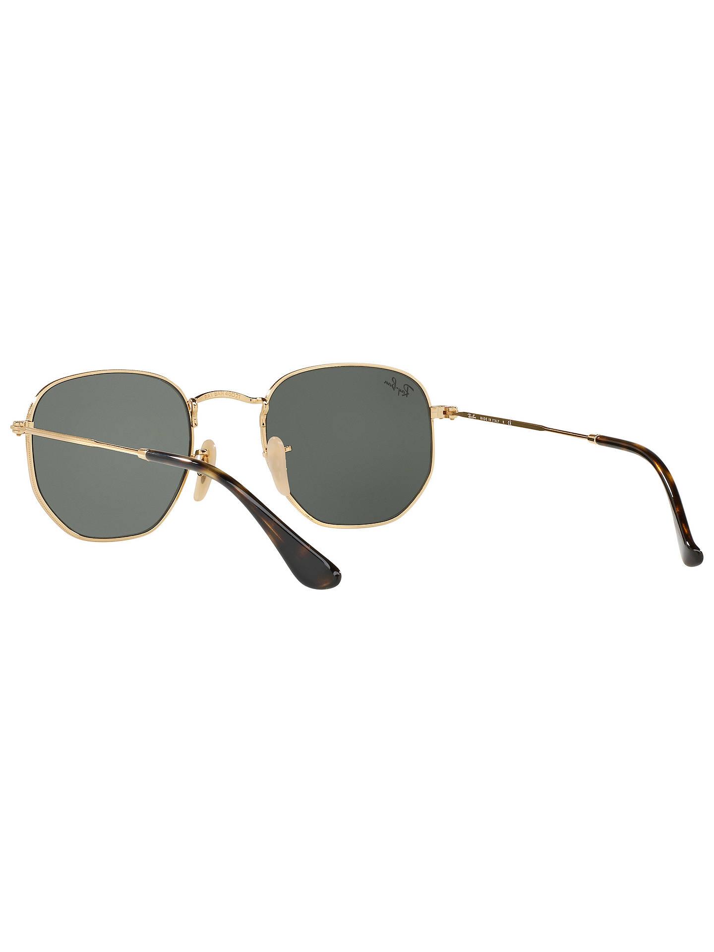 Ray Ban Rb3548 Hexagonal Flat Lens Sunglasses Gold Dark Green