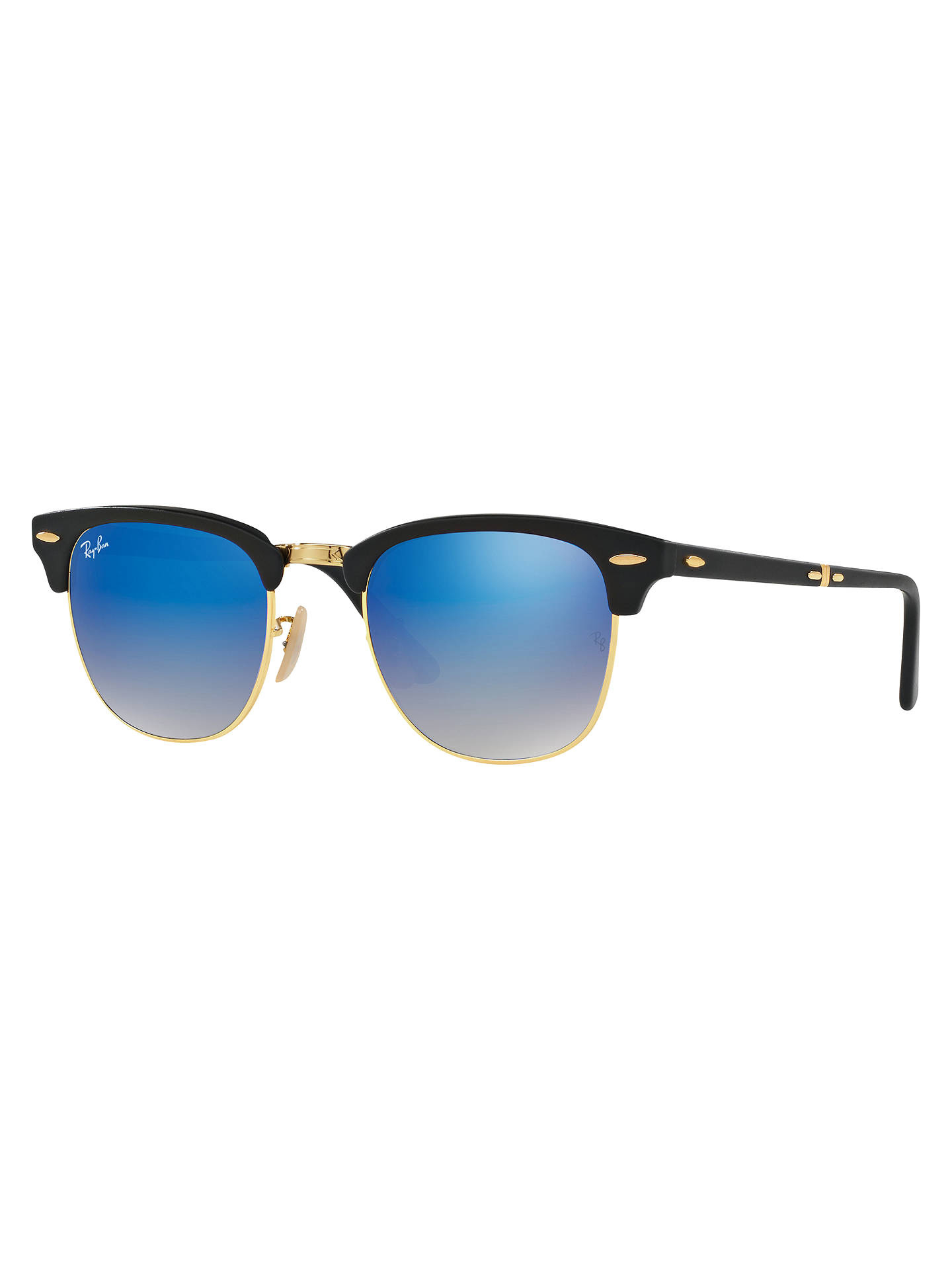 BuyRay-Ban RB2176 Folding Clubmaster Sunglasses, Black/Blue Online at johnlewis.com