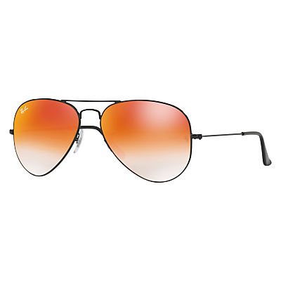 Ray-Ban RB3025 Aviator Flash Lenses Sunglasses, Black/Mirror Orange