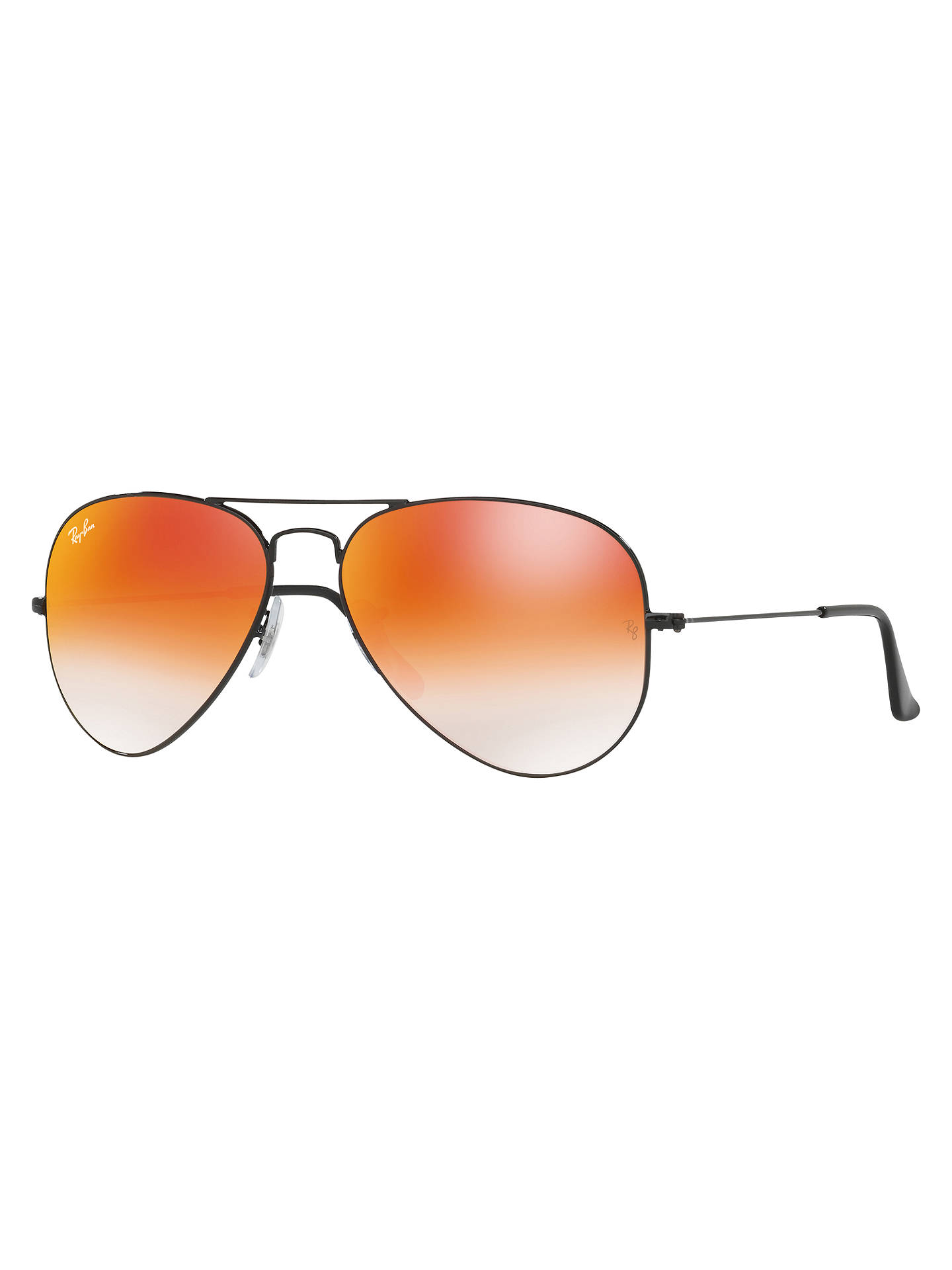 9b78dab07 Buy Ray-Ban RB3025 Aviator Flash Lenses Sunglasses, Black/Mirror Orange  Online at ...