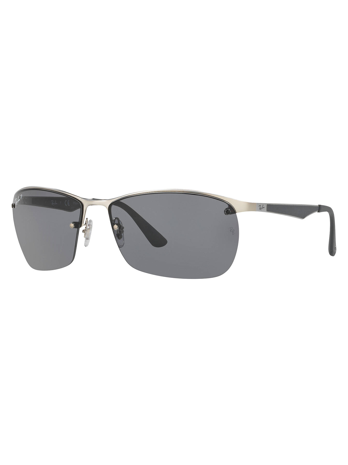 Buy Ray-Ban RB3550 Polarised Rectangular Sunglasses, Grey/Silver Online at johnlewis.com