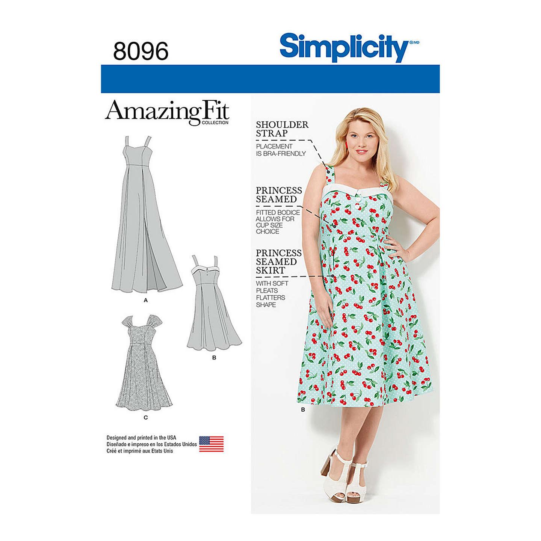 Simplicity Womens Plus Size Dress Sewing Pattern 8096 At John Lewis