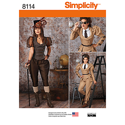 Steampunk Sewing Patterns- Dresses, Coats, Plus Sizes, Men's Patterns Simplicity Womens Steampunk Costume Sewing Pattern 8114 £6.95 AT vintagedancer.com