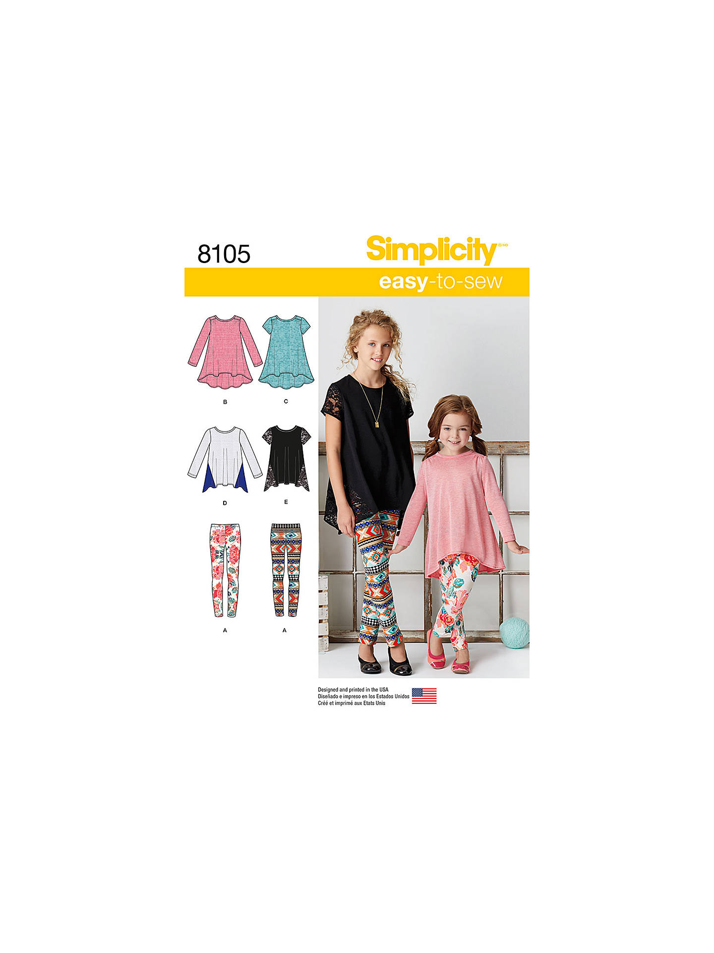 Simplicity Child's Top and Leggings Sewing Pattern, 8105