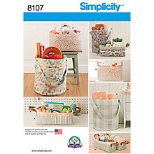 Buy Simplicity Craft Storage Buckets Sewing Pattern, 8107 Online at johnlewis.com
