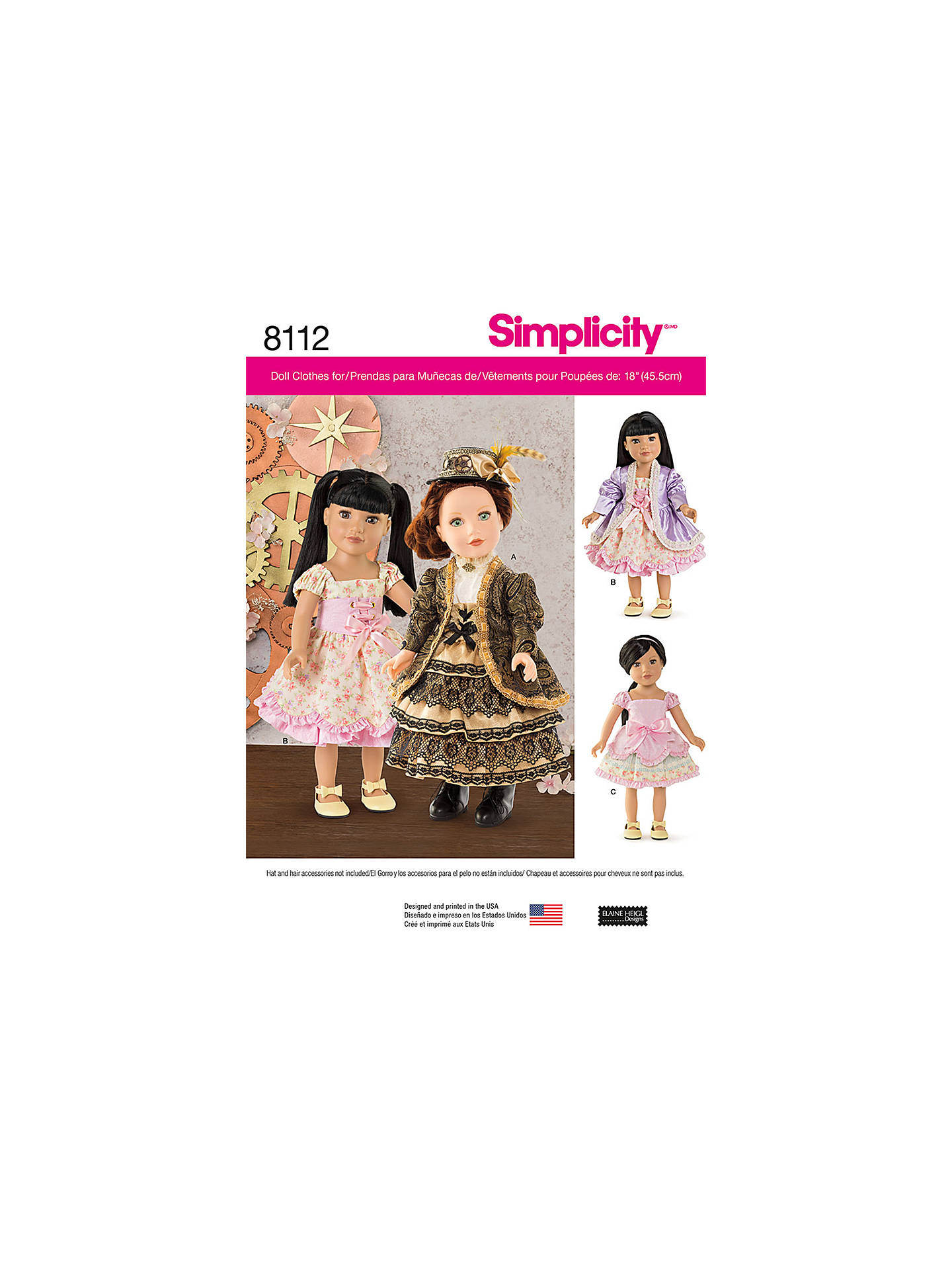 Simplicity Craft Victorian Doll Costume Sewing Pattern, 8112 at John ...