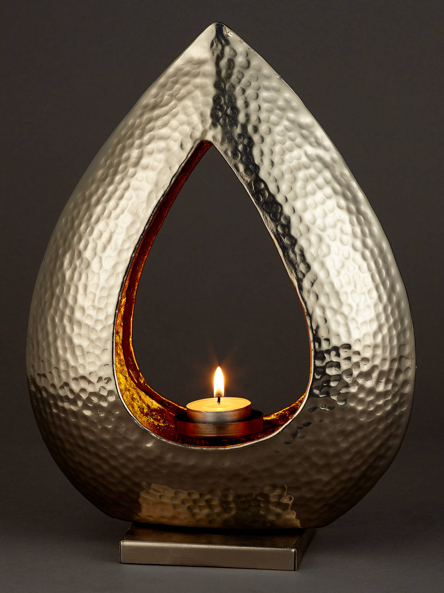 BuyJohn Lewis & Partners Hammered Teardrop Tealight Holder Online at johnlewis.com