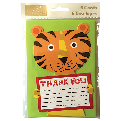 Nella Tiger Thank You Cards, Pack of 6