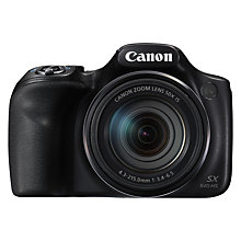 "Buy Canon PowerShot SX540 HS Bridge Camera, HD 1080p, Wi-Fi, NFC, 20.3MP, 50x Optical Zoom, 3"" LCD Screen, Black Online at johnlewis.com"