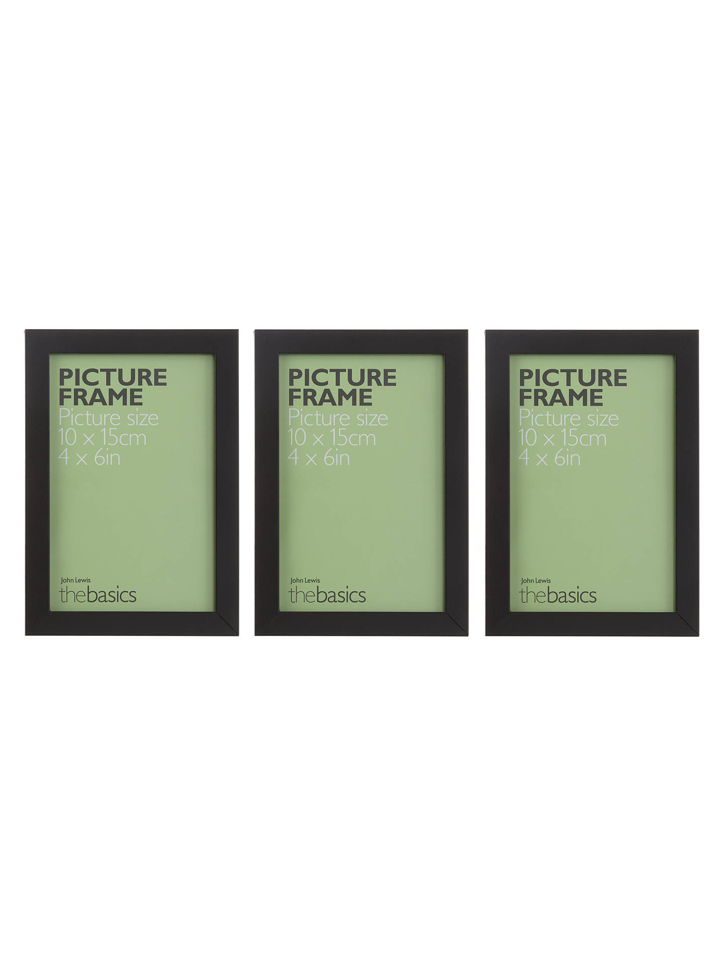 John Lewis The Basics Picture Frames Pack Of 3 4 X 6 Black At