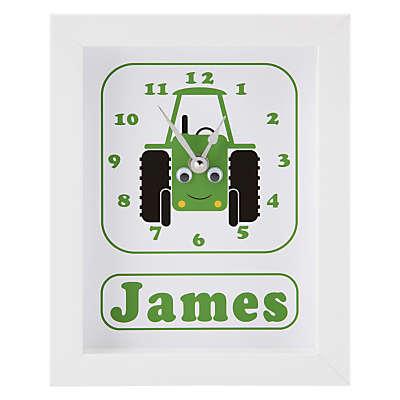Stripey Cats Personalised Trevor Tractor Framed Clock, 23 x 18cm