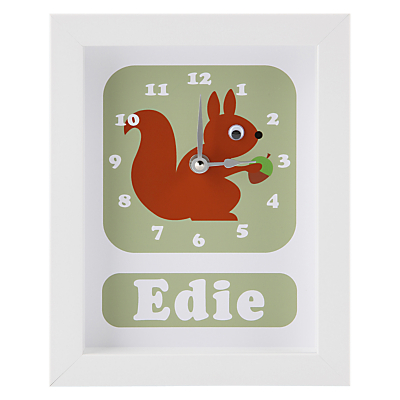 Stripey Cats Personalised Pip Squirrel Framed Clock, 23 x 18cm